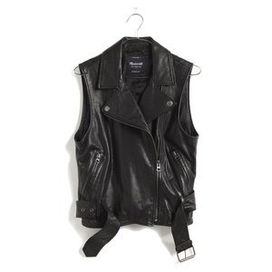 Madewell Black Leather Tour Vest